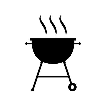 Barbecue elements. BBQ grill icon. BBQ grill isolated black sign on white background. Symbol BBQ grill party. Vector Illustration