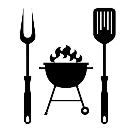 BBQ or grill tools icon in flat design. Sign barbecue tools and grill with flame . Isolated black symbols on white background. Logo. Vector illustration