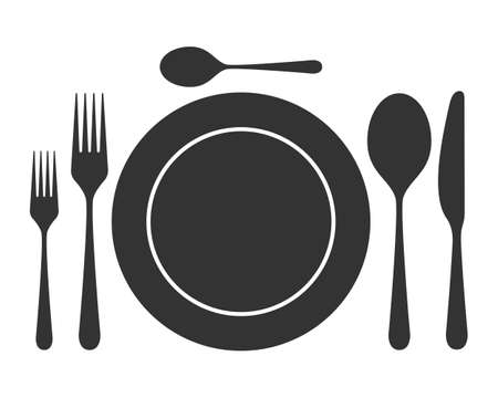 Tableware icon. Isolated sign plate, spoons, forks and knife on white background. Vector illustration.