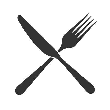 Knife and fork icon in flat design. Sign knife crossed with fork. Isolated black symbols on white background. Simple silhouette cutlery. Vector illustration