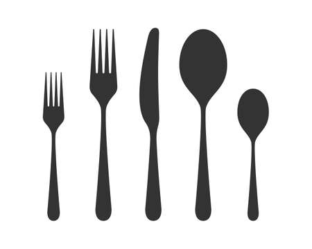 Icons cutlery. Silhouettes spoons, forks, knife. Restaurant signs. Symbol cutlery. Vector illustration