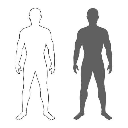 Sagoma e contorno del corpo umano maschile. Simboli da uomo isolati su sfondo bianco. Illustrazione vettoriale Vettoriali