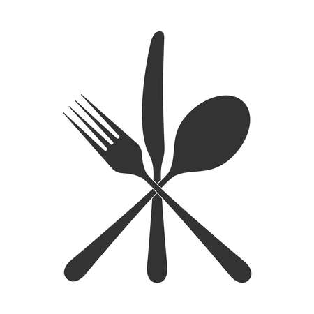 Icon cutlery. Crossed spoon, fork and knife. Restaurant signs. Symbol cutlery. Vector illustration