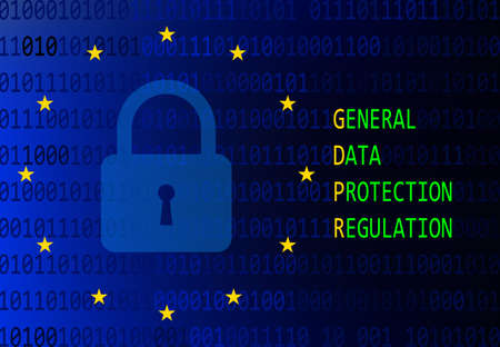 GDPR - General data protection regulation. Updated rules of personal data processing. Sign or symbol vector illustration