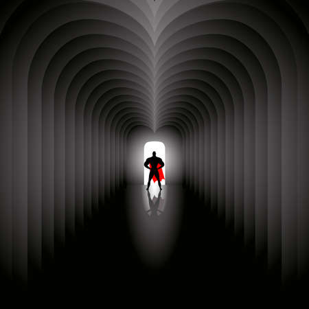The superhero in the red cloak stands at the end architectural tunnel. The light comes from the open door behind him. Darkness in the inside the nave. Concept vector illustration Иллюстрация