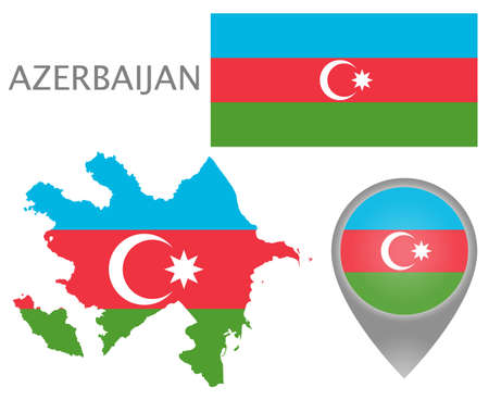 Colorful flag, map pointer and map of Azerbaijan in the colors of the Slovenian flag. High detail. Vector illustration