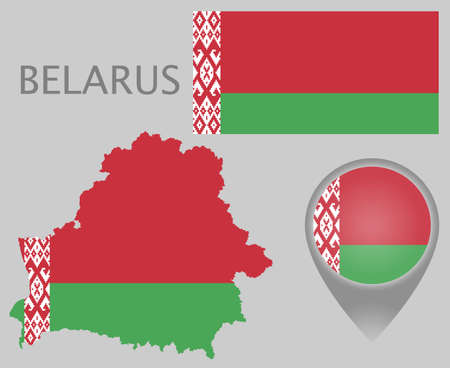 Colorful flag, map pointer and map of Belarus in the colors of the belarusian flag. High detail. Vector illustration