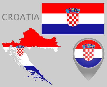 Colorful flag, map pointer and map of Croatia in the colors of the croatian flag. High detail. Vector illustration