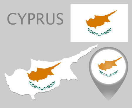 Colorful flag, map pointer and map of Cyprus in the colors of the Cyprian flag. High detail. Vector illustration