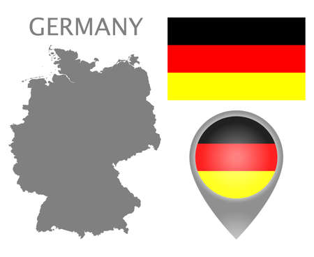 Colorful flag, map pointer and gray blank map of Germany. High detail. Vector illustration