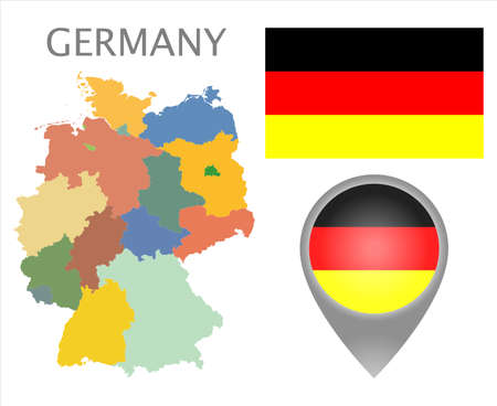 Colorful flag, map pointer and map of Germany with the division on earths. High detail. Vector illustration