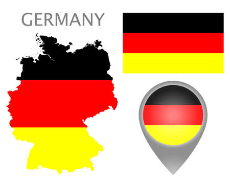 Colorful flag, map pointer and map of Germany in the colors of the German flag. High detail. Vector illustration