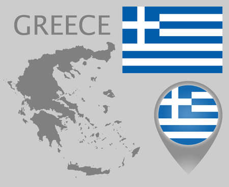 Colorful flag, map pointer and gray blank map of Greece. High detail. Vector illustration 向量圖像