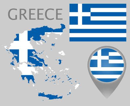 Bunte Flagge, Kartenzeiger und Karte von Griechenland in den Farben der griechischen Flagge. Hohe Detailgenauigkeit. Vektor-Illustration