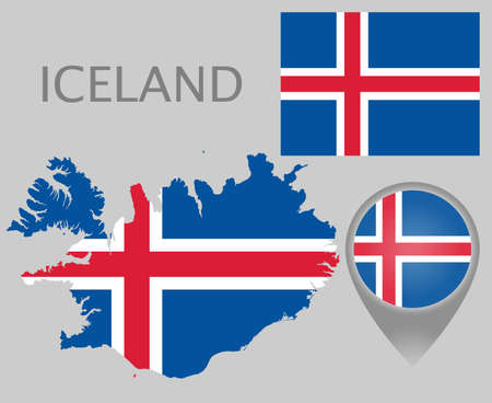 Colorful flag, map pointer and map of Iceland in the colors of the Icelandic flag. High detail. Vector illustration 向量圖像