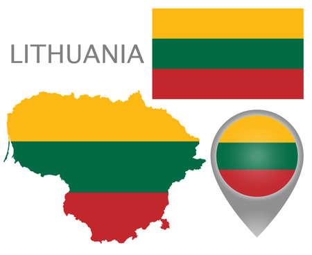 Colorful flag, map pointer and map of Lithuania in the colors of the Lithuanian flag. High detail. Vector illustration