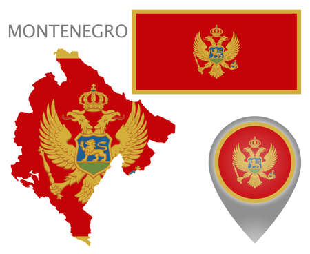 Colorful flag, map pointer and map of Montenegro in the colors of the Montenegro flag. High detail. Vector illustration