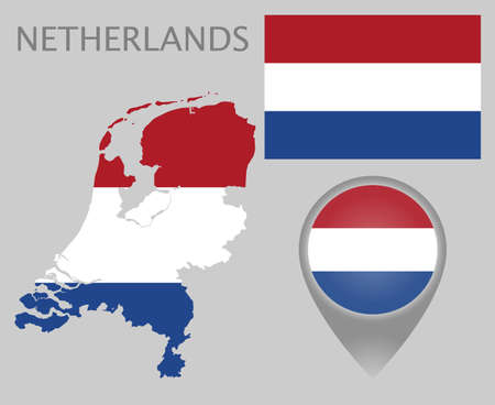 Colorful flag, map pointer and map of Netherlands in the colors of the Netherlands flag. High detail. Vector illustration 向量圖像