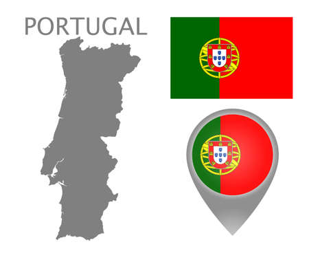 Colorful flag, map pointer and gray blank map of Portugal. High detail. Vector illustration