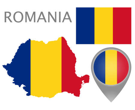 Colorful flag, map pointer and map of Romania in the colors of the Romanian flag. High detail. Vector illustration