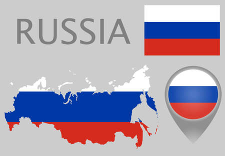Colorful flag, map pointer and map of Russia in the colors of the Russian flag. High detail. Vector illustration