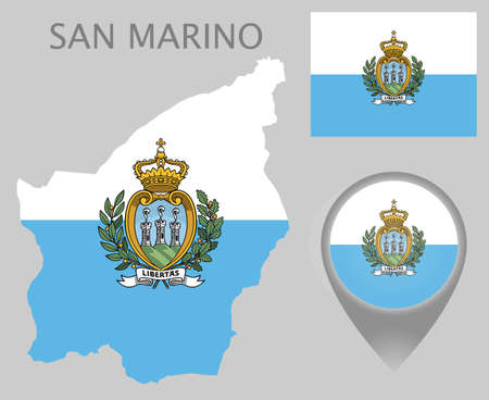 Colorful flag, coat of arms, map pointer and map of San Marino in the colors of the San Marino flag. High detail. Vector illustration