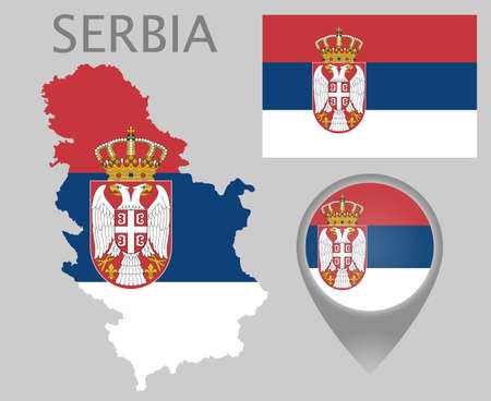 Colorful flag, map pointer and map of Serbia in the colors of the serbian flag. High detail. Vector illustration