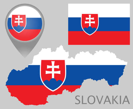 Colorful flag, map pointer and map of Slovakia in the colors of the Slovakian flag. High detail. Vector illustration