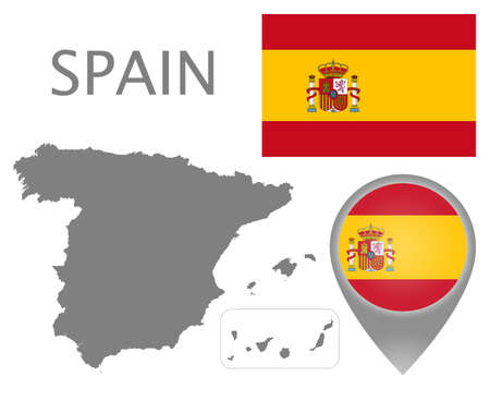 Colorful flag, map pointer and gray blank map of Spain. High detail. Vector illustration
