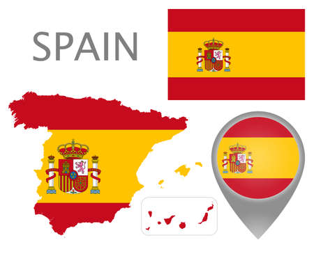 Colorful flag, map pointer and map of Spain in the colors of the Spanish flag. High detail. Vector illustration