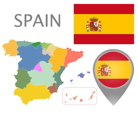 Colorful flag, map pointer and map of Spain with the administrative divisions. High detail. Vector illustration