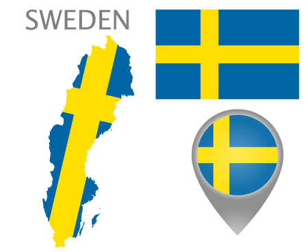 Colorful flag, map pointer and map of Sweden in the colors of the swedish flag. High detail. Vector illustration