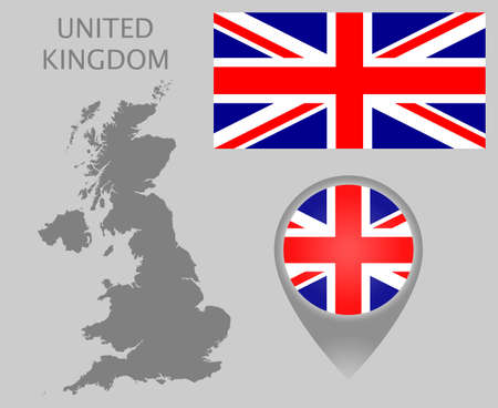 Colorful flag, map pointer and gray blank map of United Kingdom. High detail. Vector illustration