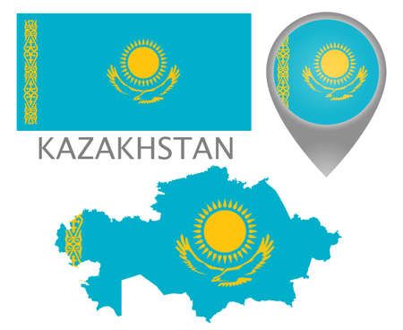 Colorful flag, map pointer and map of Kazakhstan in the colors of the Kazakh flag. High detail. Vector illustration