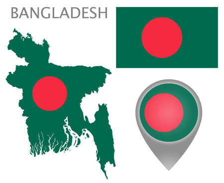 Colorful flag, map pointer and map of Bangladesh in the colors of the Bangladeshi flag. High detail. Vector illustration
