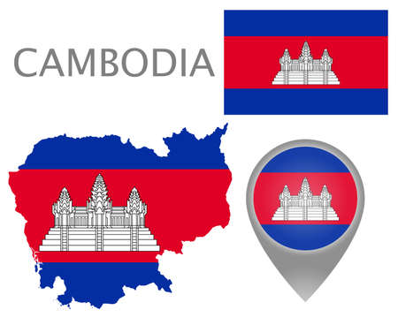 Colorful flag, map pointer and map of Cambodia in the colors of the Cambodian flag. High detail. Vector illustration