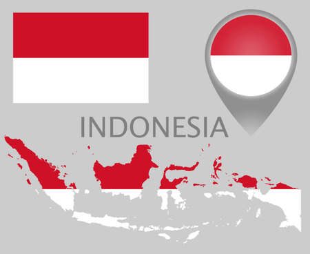 Colorful flag, map pointer and map of Indonesia in the colors of the indonesian flag. High detail. Vector illustration