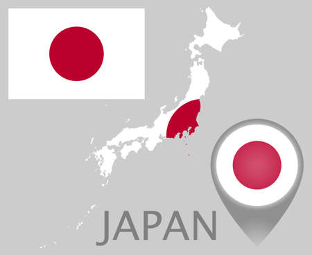 Colorful flag, map pointer and map of Japan in the colors of the Japanese flag. High detail. Vector illustration