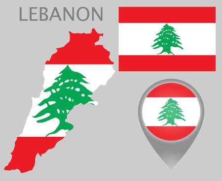 Colorful flag, map pointer and map of Lebanon in the colors of the Lebanese flag. High detail. Vector illustration