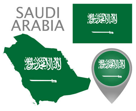 Colorful flag, map pointer and map of Saudi Arabia in the colors of the Saudi Arabia flag. Flag with text: There is no deity worthy of worship, except one God, and Muhammad - his messenger. Vector