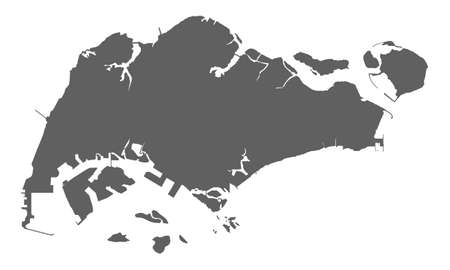 Very accurate blank map of Republic Singapore. Isolated grey blank map Singapore on white background. Flat vector illustration.