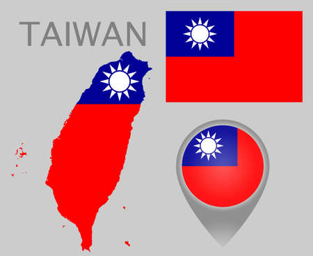 Colorful flag, map pointer and map of Taiwan in the colors of the Taiwanese flag. High detail. Vector illustration Çizim