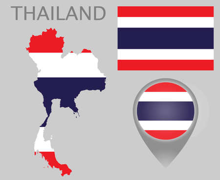 Colorful flag, map pointer and map of Thailand in the colors of the Thailandian flag. High detail. Vector illustration