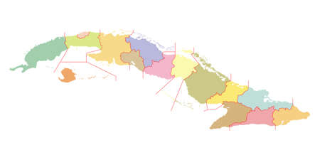 Colorful map of Cuba with the administrative division into provinces until 2011. High detail. Vector illustration