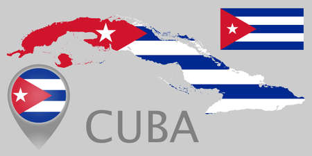 Colorful flag, map pointer and map of the Cuba in the colors of the Cuban flag. High detail. Vector illustration