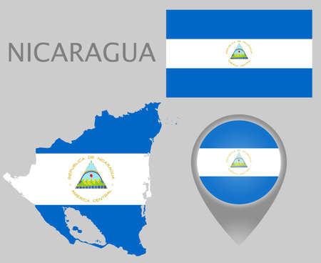 Colorful flag, map pointer and map of the Nicaragua in the colors of the ncaraguan flag. High detail. Vector illustration