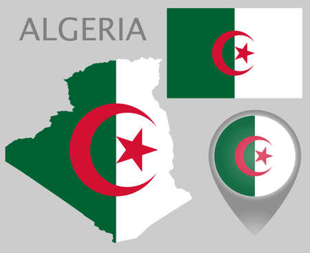 Colorful flag, map pointer and map of Algeria in the colors of the Algerian. High detail. Vector illustration 向量圖像