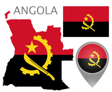 Colorful flag, map pointer and map of Angola in the colors of the Angolan. High detail. Vector illustration
