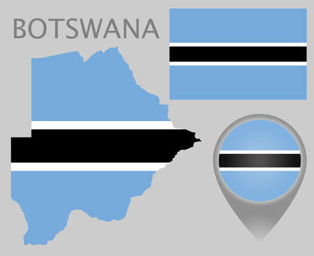 Colorful flag, map pointer and map of Botswana in the colors of the Botswana flag. High detail. Vector illustration