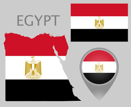 Colorful flag, map pointer and map of Egypt in the colors of the Egyptian flag. High detail. Vector illustration Çizim